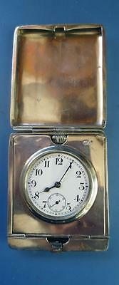 Antique Silver Travel Clock Swiss Movement