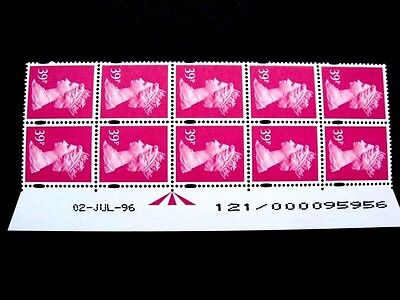 Enschede.39p.Warrant/Date block of 10.U378.Right.Superb MNH.Unfolded.