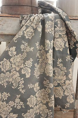Antique blue French fabric material old faded floral