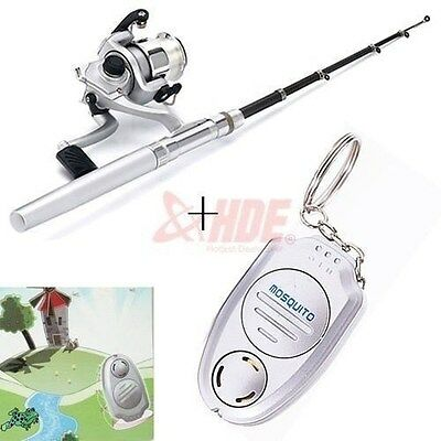 Mini Pocket Fishing Reel and Rod Aluminum Pole + Mosquito Bug Repellent Keychain