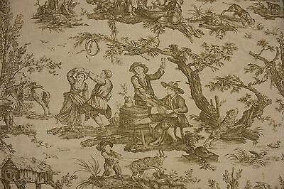 Vintage Green Toile curtain fabric 1940-1950's toile de Jouy