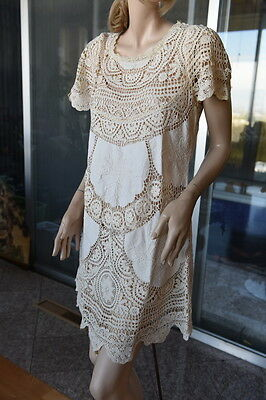 Lim's Cotton Hand Crochet & Embroidery  Mini Dress Natural M (One Size)