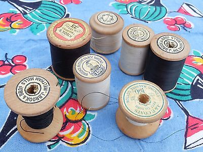 7 Vintage Wooden Cotton Thread Reels Bobbins Nice Graphics Black And White