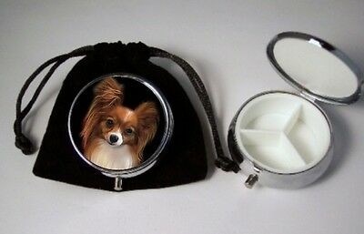 Papillon Dog Pill Box silvetone 3 compartments  with black velour pouch