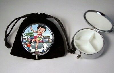 Betty Boop Skating Pill Box silver tone  3 compartments with black velour pouch