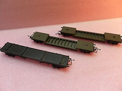 00 Gauge Vintage Triang Low Loaders x 2 -  and Flat Bed Wagon x 1
