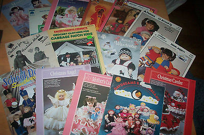15 Various Crochet Knit Pattern Booklets for dolls assorted sizes many vintage
