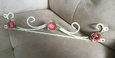 French Apartment Antique Shabby Vtg Chic Metal Tole Flowers Glass Decor
