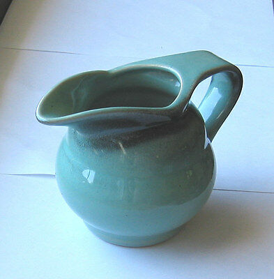 Royal Gouda Holland Pottery SMALL PITCHER / CREAMER - QGC seagreen black 4.5 in