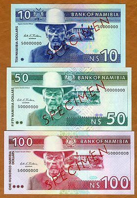 Specimen Set, Namibia, 10;50;100 Dollars (1993), P-1s-2s-3s, UNC    First Issue
