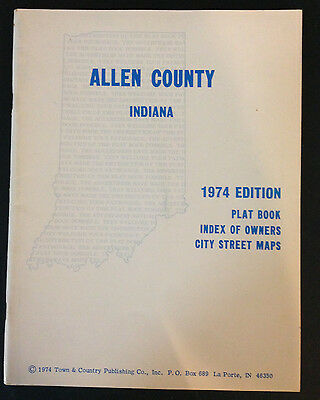 1974 ALLEN County Indiana Farm Plat Book/Map History Land Ownership