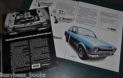 1974 Ford ESCORT RS advertisement x2, British Ford advert, Escort RS 1600 & 2000