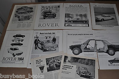 1959-65 ROVER advertisements x7, + 2 British articles, Rover 2000, 80 etc