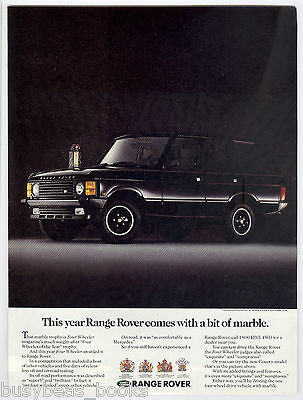1990 RANGE ROVER advertisement, black  Land Rover with trophy