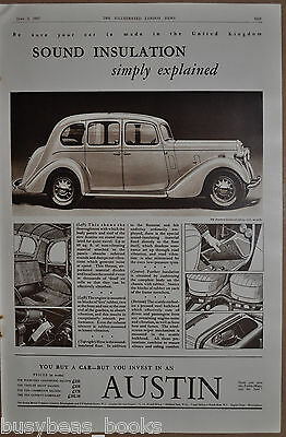 1937 AUSTIN FOURTEEN GOODWOOD advert, large 4-door vintage auto, British ad
