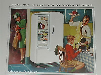 1941 GENERAL ELECTRIC advertisement, GE Refrigerator, Dad in apron