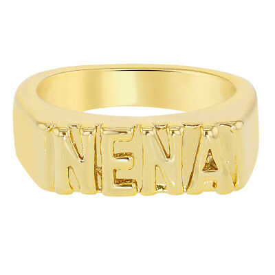 "18k Yellow Gold Plated ""Nena"" Engraved Band Rings for Girls"