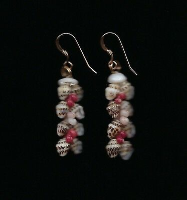 "Hawaiian 100% Niihau Shell 1-3/4"" Heliconia Style Earrings"