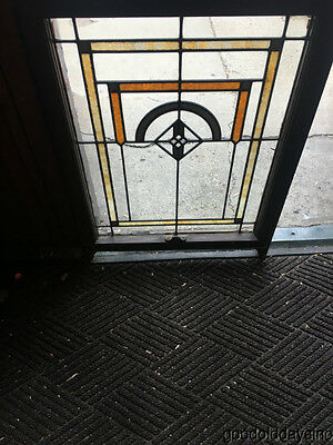 "Antique Chicago Bungalow Style Stained Leaded Glass Window 32"" by 24"""