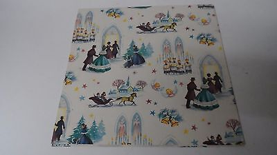 Vintage Christmas Wrapping Paper - GOING TO CHURCH - Unused