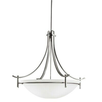 Kichler Olympia Pendant 5Lt, Antique Pewter, Satin Etched White - 3279AP