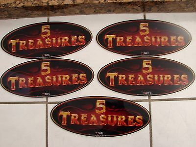 "Plexiglass 5 Treasures oval sm Casino Sign 13 1/8"" X 5 1/4"" X1/8"" Lot of 5 SHFL"