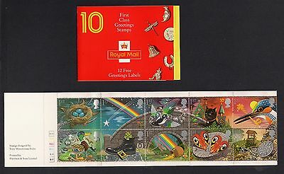 """GB 1991 Greeting Stamps """"Good Luck Charms"""" Booklet KX2 with Cylinder Numbers"""