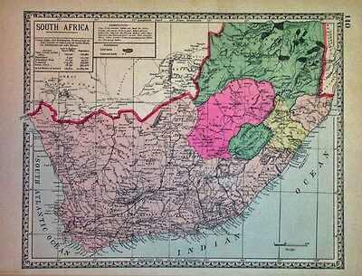 1886  South Africa HAND COLORING original ANTIQUE MAP authentic