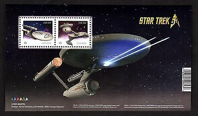 50th Anniversary of STAR TREK Postage Stamps Souvenir Sheet from Canada