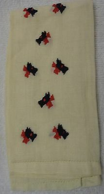 Scotty Scottie Dog  Head Red Bow Embroidered Pattern White Hand Towel