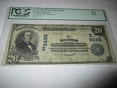 $20 1902 Manor Pennsylvania PA National Currency Bank Note Bill! Ch. #6456 Fine!