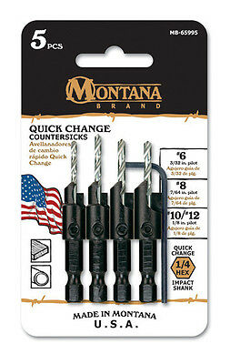 Montana Brand 5 Piece Power Groove Quick Change Countersink Set MB-65995