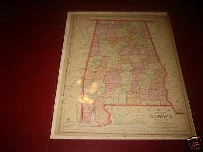 1892 ALABAMA Antique color  state map original authentic