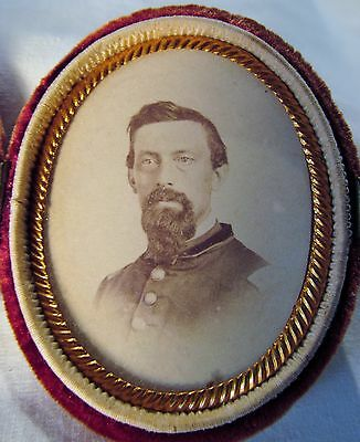 Civil War Photo Colonel Isaac S. Tichenor NY 105th O/Hand Carved MOP Cameo Case