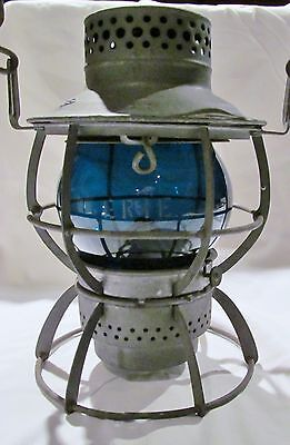 Genuine Antique BLUE GREEN KOPP GLOBE ETCHED ERIE Railroad Lantern Dressel Lamp