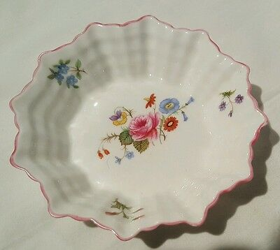 Shelley Rose Wildflower Scalloped Webbed Sides Pin Trinket Tray Nut Butter Dish