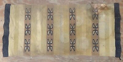 """Antique 1930's Native American Indian Navajo Double Saddle Blanket Rug 28"""" x 64"""""""
