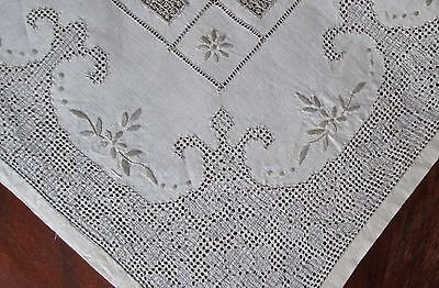 fine 17 pc set runner, 8 placemats, 8 napkins cream linen taupe embr+mosaic lace