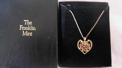 Franklin Mint Dear Heart Gold Pendant Jewelry Gemstones