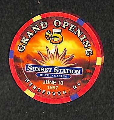 Casino Chip Henderson Nevada $5.00 Sunset Station Grand Opening 1997 Le Vf++