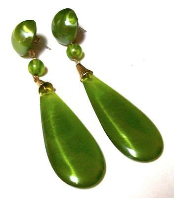 "Vintage GREEN MARBLED SATIN LUCITE DANGLE EARRINGS-3 1/2""-ESTATE"