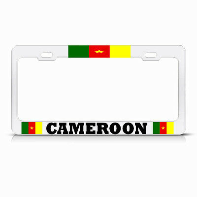 CAMEROON CAMEROON FLAG Metal License Plate Frame Tag Border Two Holes