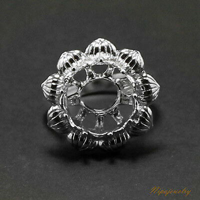 Ring Setting Sterling Silver 12 mm. Round.#7.5