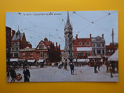 Clock Tower Shops & Tram LEICESTER Leicestershire *Vintage* c1910