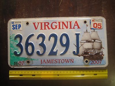 License Plate, Virginia, 1607-2007, Jamestown, Large Ship, 36329 J