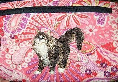 Q cosmetic MAINE COON CAT Quilted Pink Floral Dble Zip Fabric Cosmetic Bag