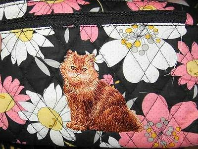 Q cosmetic RED PERSIAN CAT Quilted Blk Floral Dble Zip Fabric Cosmetic Bag