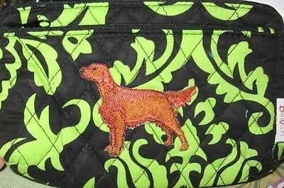 Q cosmetic IRISH SETTER Quilted Damask Green Double Zipper Fabric Cosmetic Bag