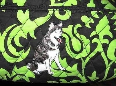Q cosmetic HUSKY SITTING Quilted Damask Green Double Zipper Fabric Cosmetic Bag