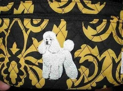 Q cosmetic POODLE WHITE Quilted Damask Yellow Double Zipper Fabric Cosmetic Bag